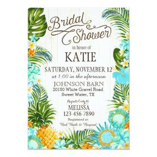 "Luau Hawaiian Beach Rustic Bridal Shower 5"" X 7"" Invitation Card"