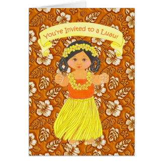 Luau Hawaiian Party Invitation Cards