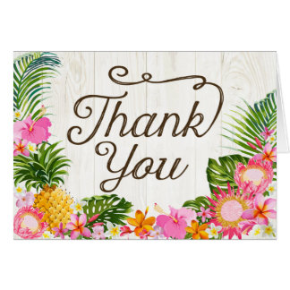 Luau Hawaiian Rustic Beach Thank You Card
