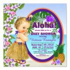 Luau Hula Girl Hwaiian Tropical Baby Shower Card