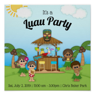 Luau Party BBQ Picnic Party Poster