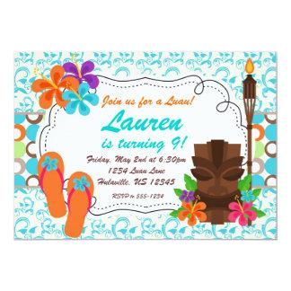 Luau Party Invite, Turquoise Damask and Tiki Man Card