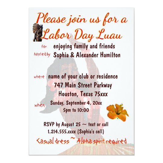 Luau Party Labour Day Barbeque Card