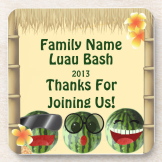 Luau Party Tiki Hut Watermelon People Cork Coaster