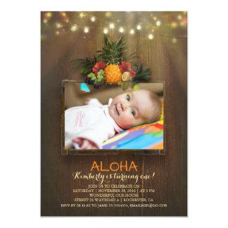 Luau Pineapple Tropical 1 Baby Birthday Photo Card