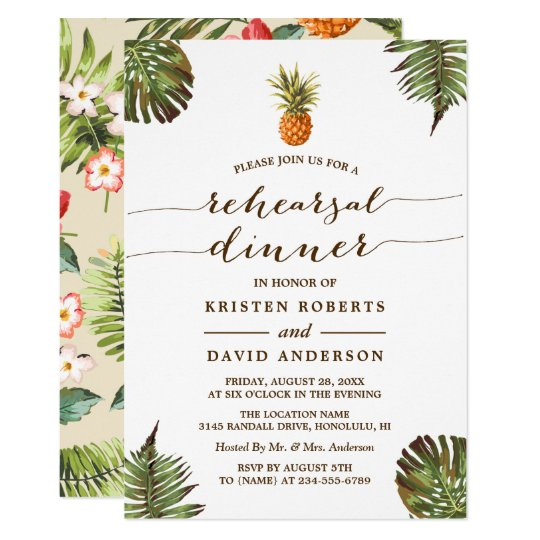Luau Rehearsal Dinner | Tropical Leaves Pineapple Card