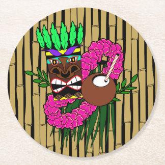 Luau Theme Round Paper Coaster