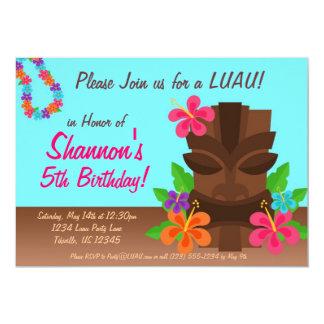 Luau Tiki Man and Flowers Birthday Party Card