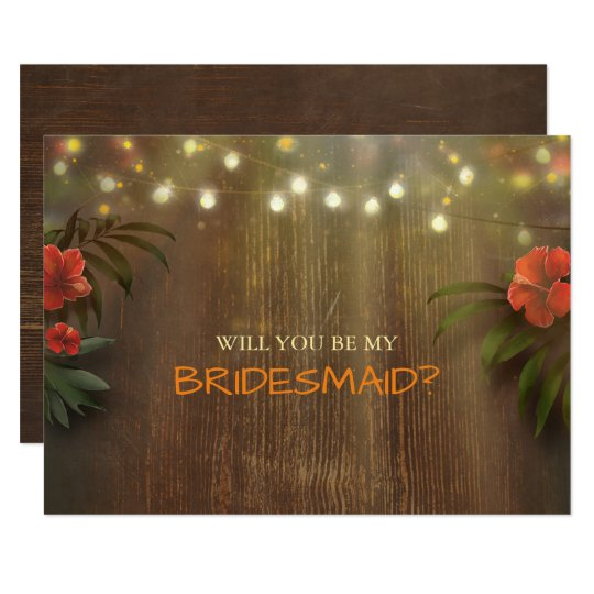 Luau Tropical Beach Lights Floral Bridesmaid Card
