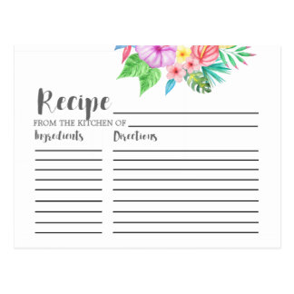 Luau Tropical Flower Bridal Shower Recipe Cards