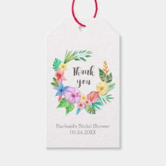 Luau Tropical Flower Bridal Shower Thank You Pack Of Gift Tags