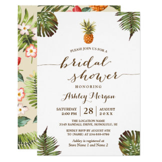 Luau Tropical Leaves Pineapple Bridal Shower Card