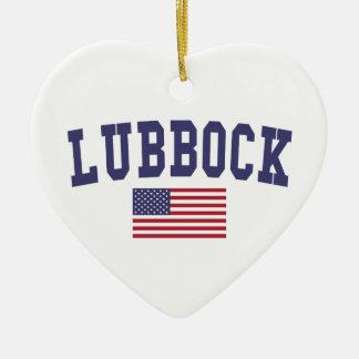Lubbock US Flag Ceramic Ornament