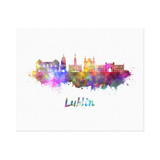 Lublin skyline in watercolor canvas print