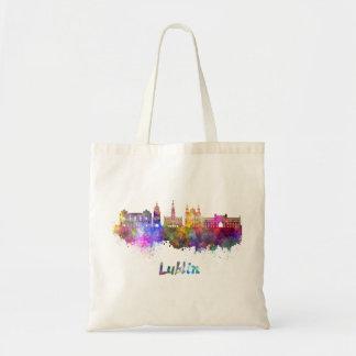 Lublin skyline in watercolor tote bag