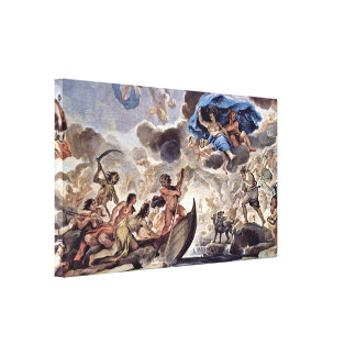 Luca Giordano - The bark of Charon and Morpheus Canvas Print