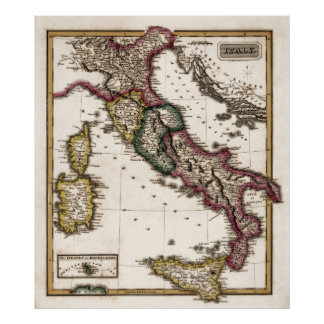 LUCAS MAP of ITALY c. 1817 Poster