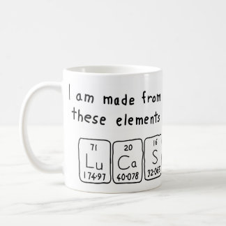 Lucas periodic table name mug