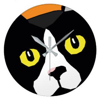 Lucas the cat abstract pop art wall clock