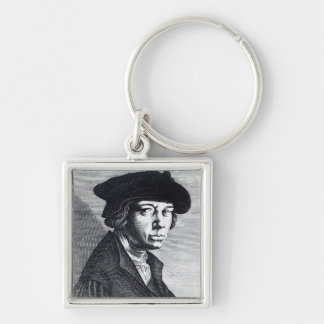 Lucas van Leyden Silver-Colored Square Keychain