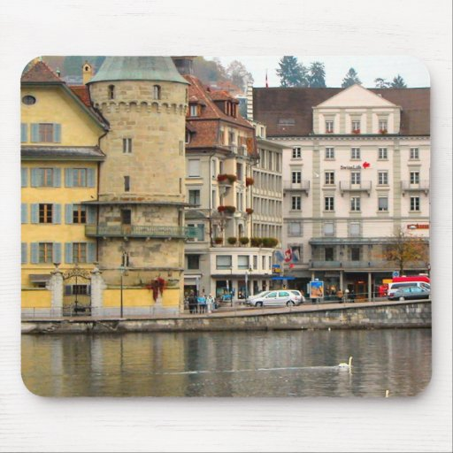 Lucerne - Buildings on the riverbank Mousepads