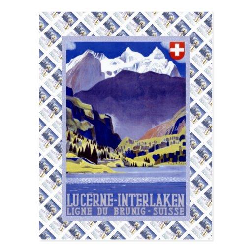 Lucerne ferroviaire suisse vintage Interlaken Brun Carte Postale