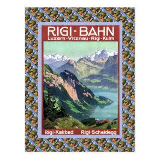 Lucerne ferroviaire suisse vintage Rigi Bahn Carte Postale