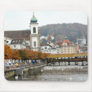 Lucerne - Jesuit church and old bridge Mouse Pad