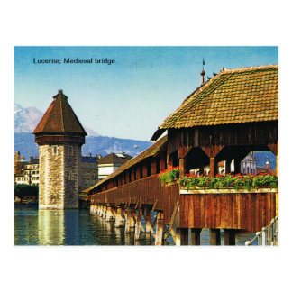 Lucerne; Medieval bridge Postcard