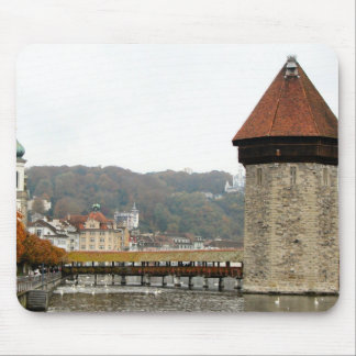 Lucerne - Old bridge and Mill Tower Mouse Pad