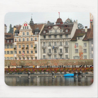 Lucerne - Old Bridge and riverfront Mouse Pad