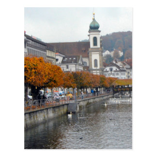Lucerne old city - Jesuit church and waterfront Postcard
