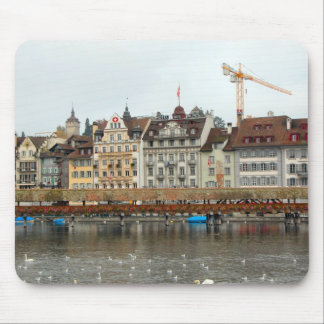 Lucerne - Waterfront buildings and old bridge Mouse Pad