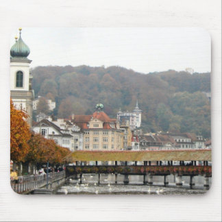 Lucerne - Wooden bridge and autumn trees Mouse Pad