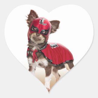 Lucha libre dog ,funny chihuahua,chihuahua heart sticker