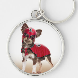 Lucha libre dog ,funny chihuahua,chihuahua Silver-Colored round keychain