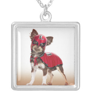 Lucha libre dog ,funny chihuahua,chihuahua silver plated necklace