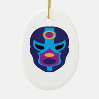 Lucha Libre Mask Ceramic Oval Ornament