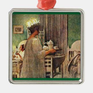 Lucia Day Silver-Colored Square Ornament