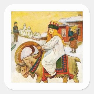 Lucia Rides the Jul Goat Square Sticker