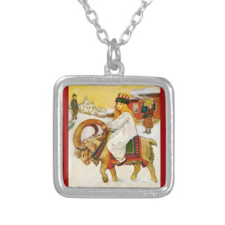 Lucia Riding a Christmas Goat Silver Plated Necklace