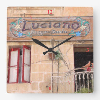 Luciano's Pizza Square Wall Clock