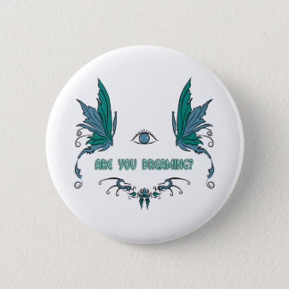 Lucid dreaming button/pin design. 2 inch round button