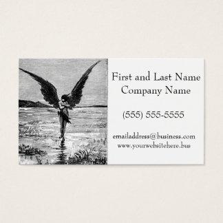 Lucifero Satan Devil Angel Charcoal Illustration Business Card
