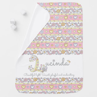 Lucinda L name meaning hearts flowers baby blanket