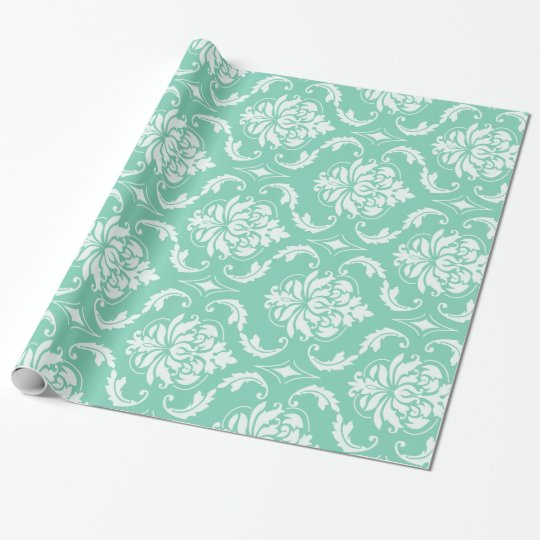 Lucite Green and White Classic Damask Wrapping Paper