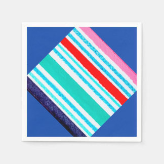 Lucite tray with stripes, multicolored disposable napkin