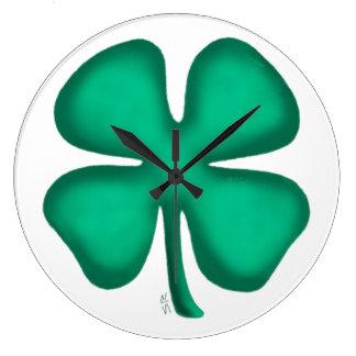 Luck 4 Leaf Irish Clover large wall clock