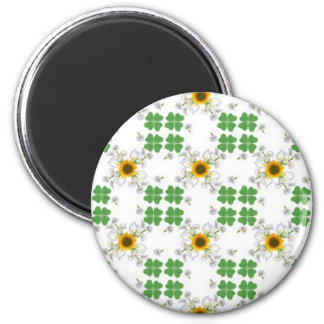 Luck clover Clover with sunflower and Calla lily 2 Inch Round Magnet