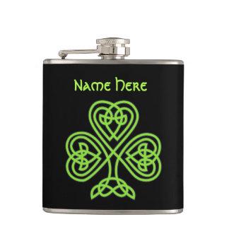 Luck Of The Irish Celtic Knot Shamrock Flask